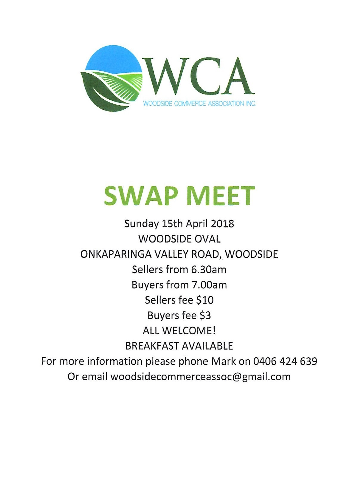 Woodside Buy, Sell and Swap Meet 15th April 2018