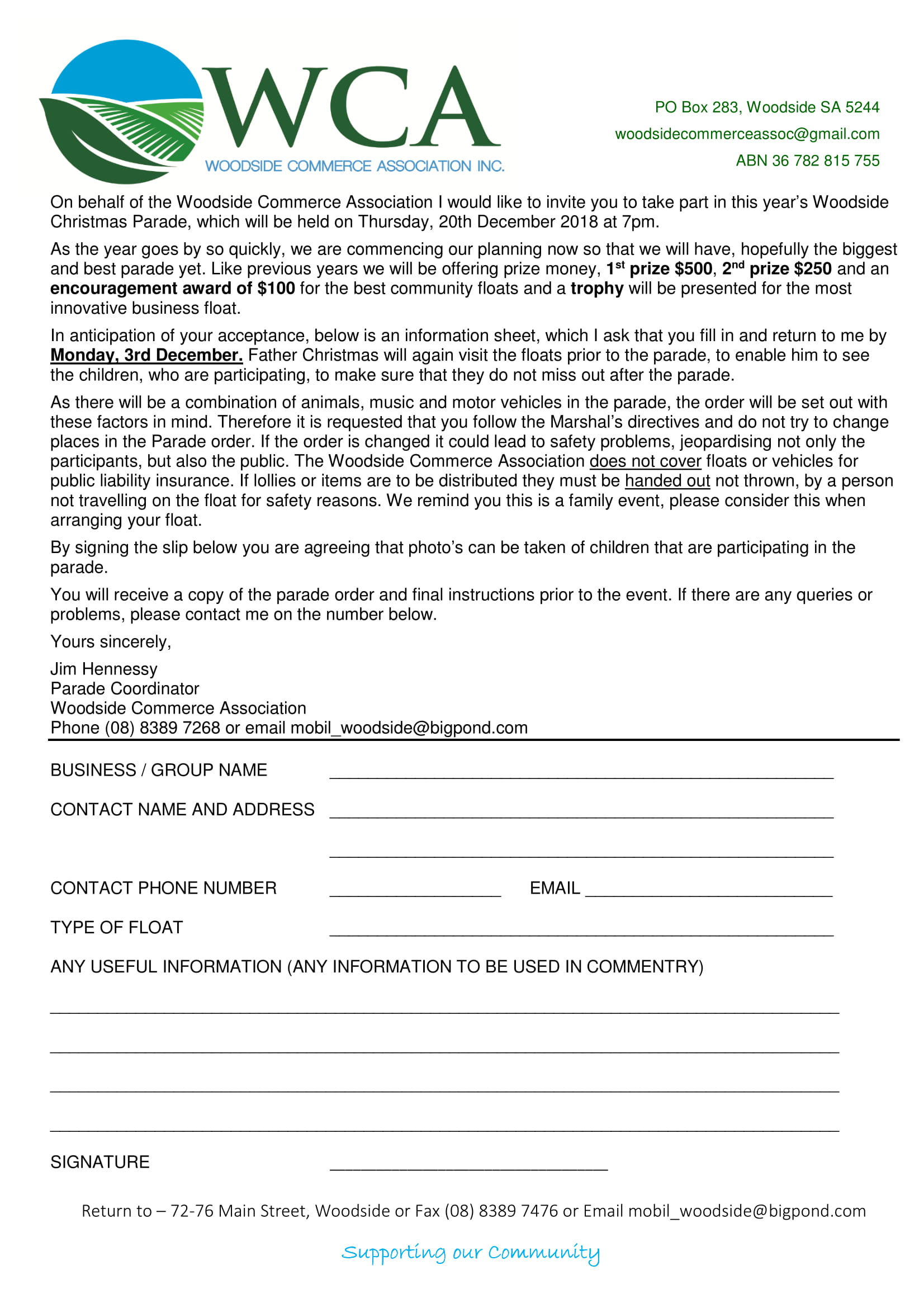 Woodside Christmas Pageant 2018 Entry Form