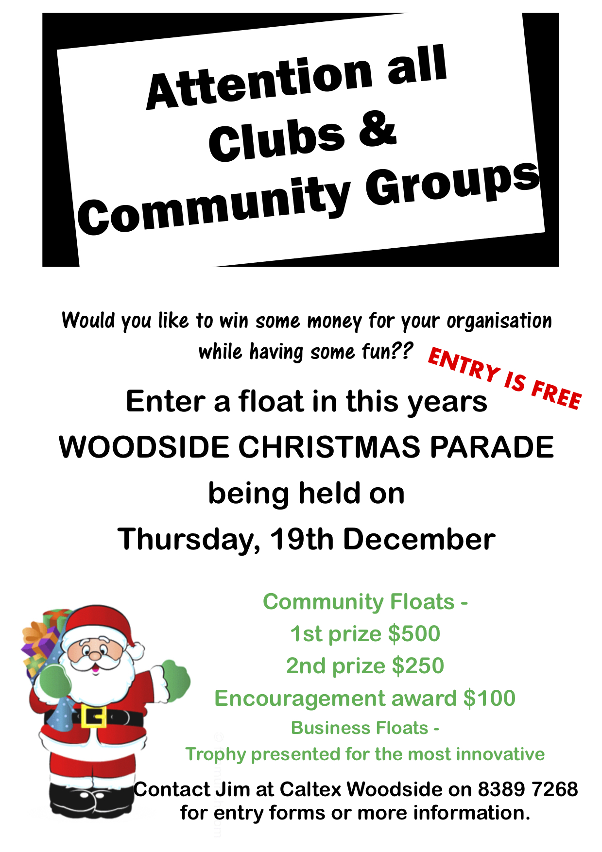 Woodside Christmas Pageant community flyer