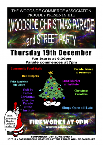 Bring the family along to enjoy the firewirks at the Woodside Christmas Pageant