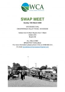 Woodside Commerce Association Swap Meet 15th March 2020
