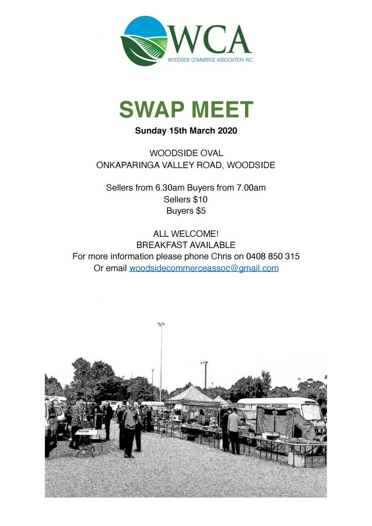 Woodside Commerce Association Swap Meet 15th March 2020
